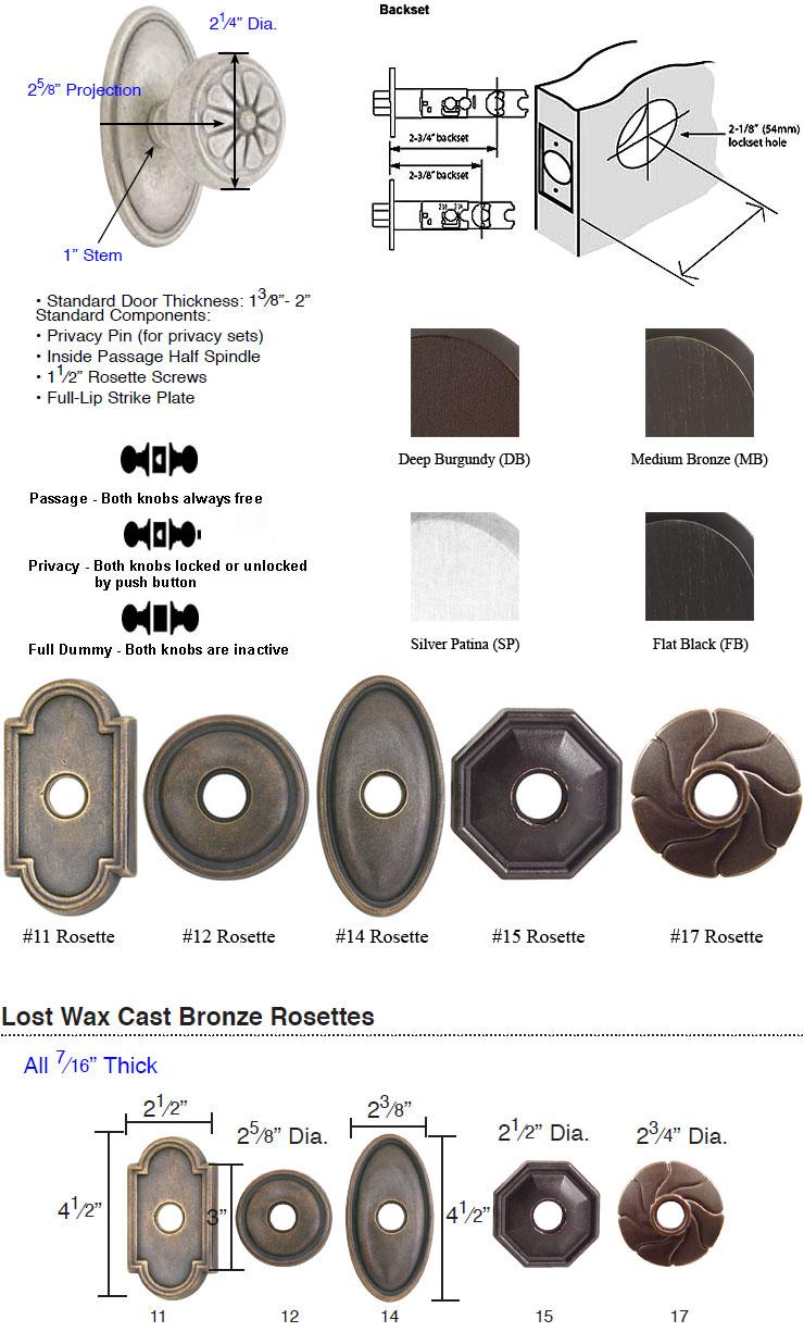 Emtek Lost Wax Cast Bronze Petal Knob