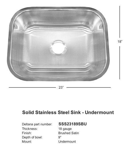 Stainless Steel Single Undermount Sink
